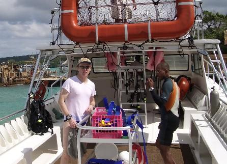 """Deepstop & Instructor """"Ghandi"""" returning from Nav Dive"""
