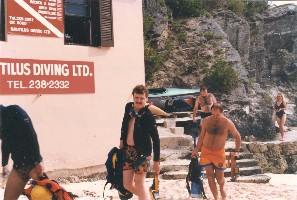 Author returning from dive with buddy J.P.Brion