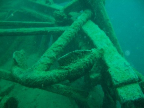 This is the starboard anchor still in place