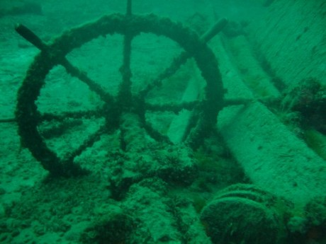 The Wheel sits on the bottom near the wreck