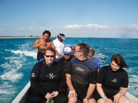 Divers crammed into fishing boat - Pedro at upper left