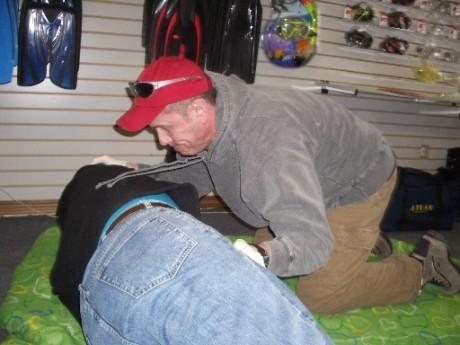Steve demonstrating an incorrect procedure